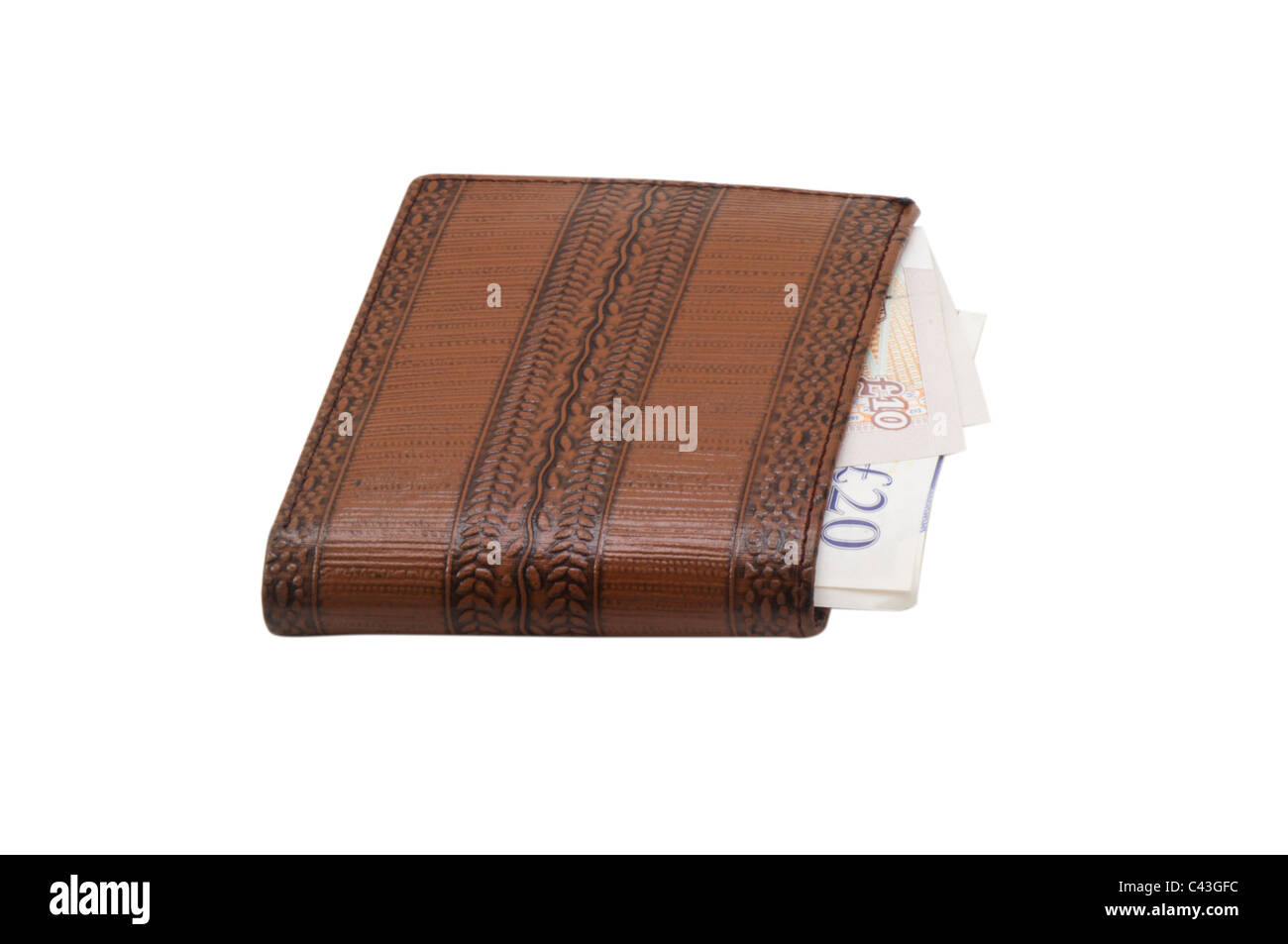 Wallet with UK bank notes - ten and twenty pounds, in white background - Stock Image