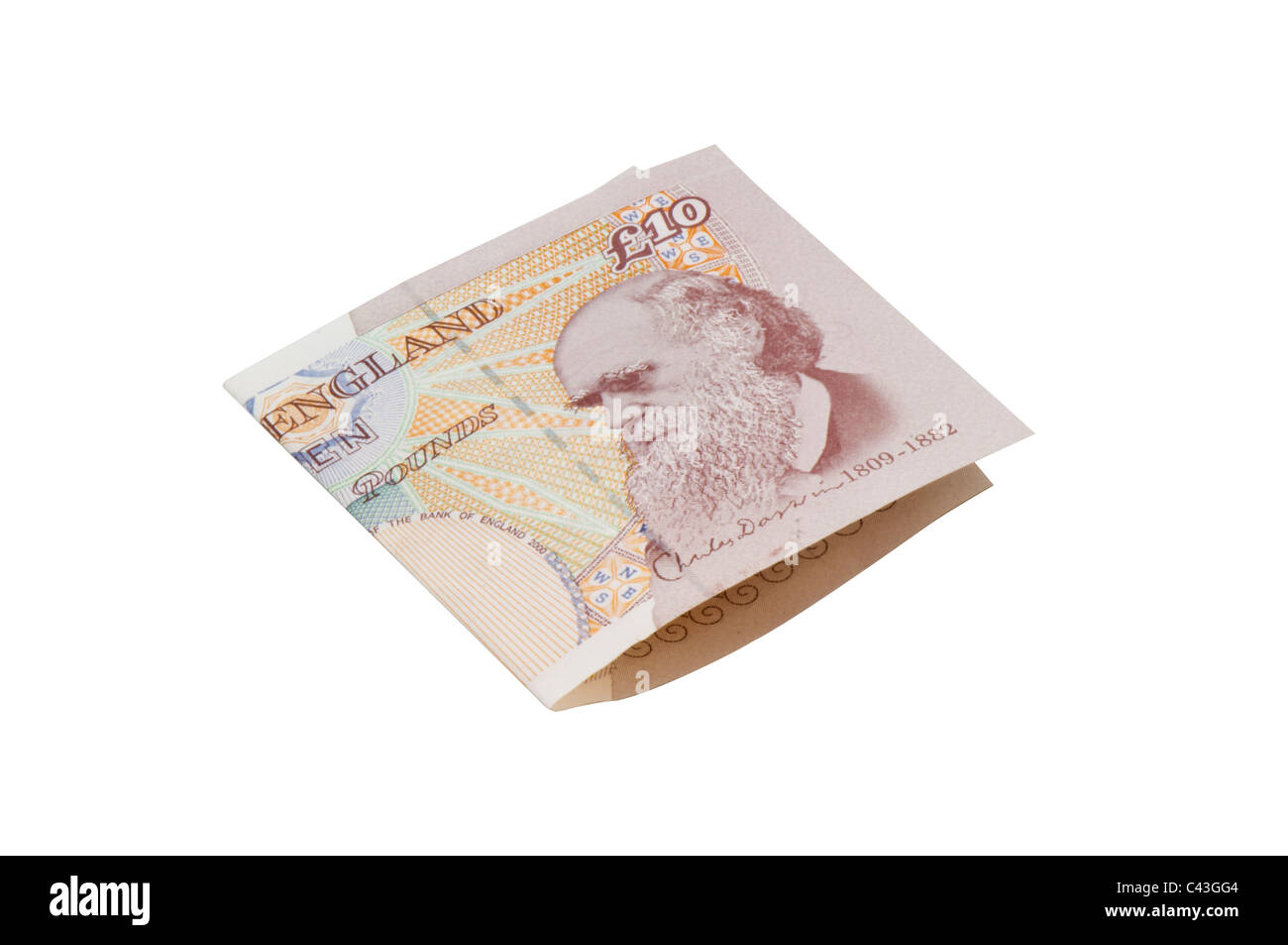 Ten pound English bank note folded. - Stock Image