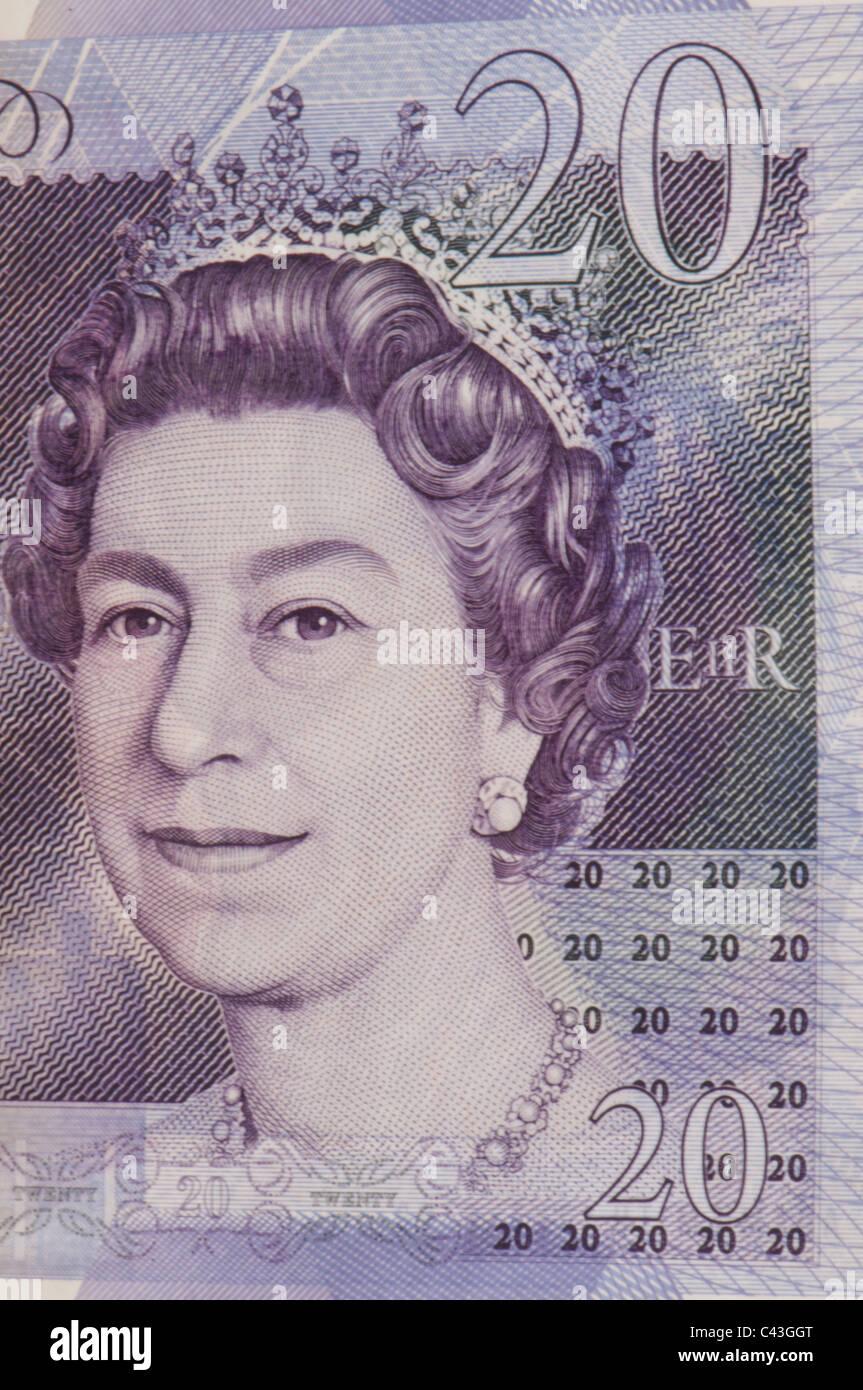 UK twenty pound note showing Queen Elizabeth II - Stock Image