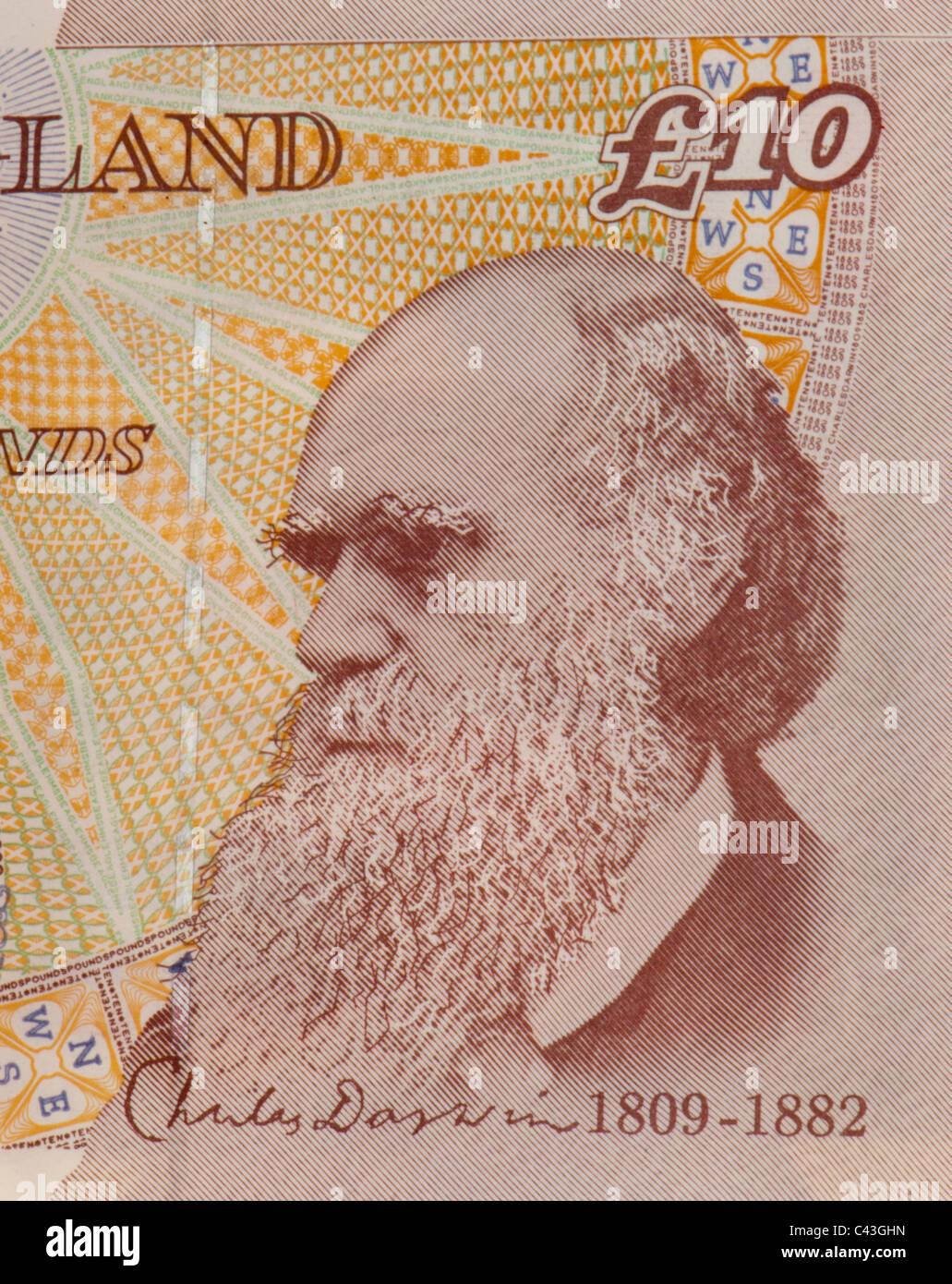 UK 10 pound showing head of Charles Darwin - Stock Image