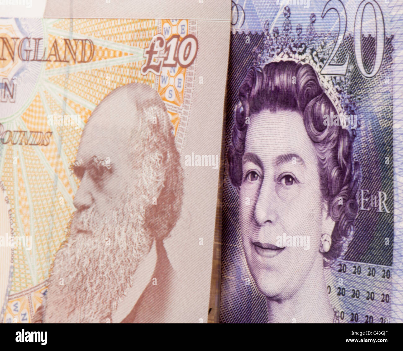 UK twenty pound and 10 pound showing head of Queen Elizabeth II and Charles Darwin - Stock Image