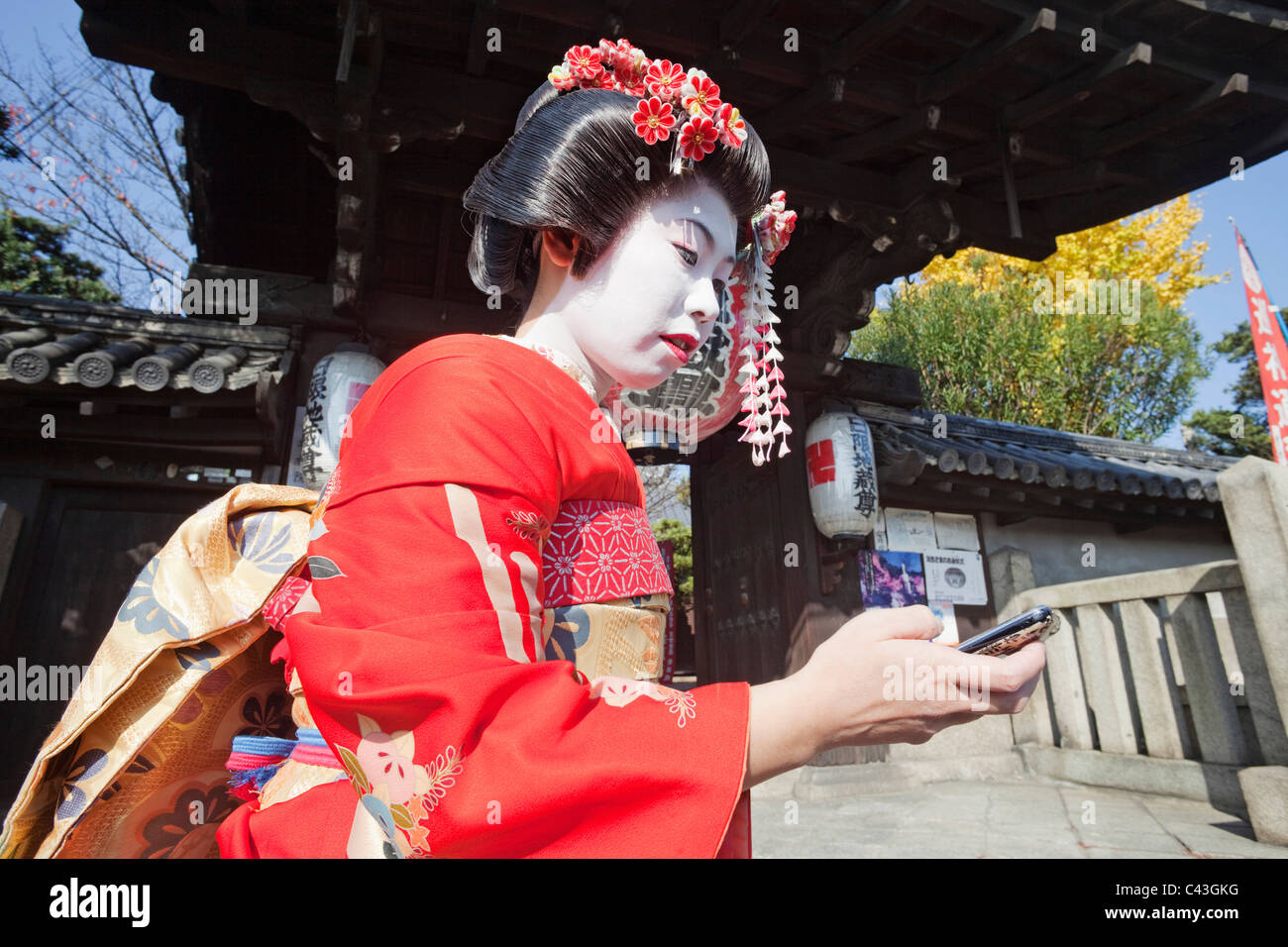 Asia, Japan, Honshu, Kyoto, Female, Woman, Women, Japanese Woman, Japanese Women, Asian Woman, Asian Women, Maiko, - Stock Image