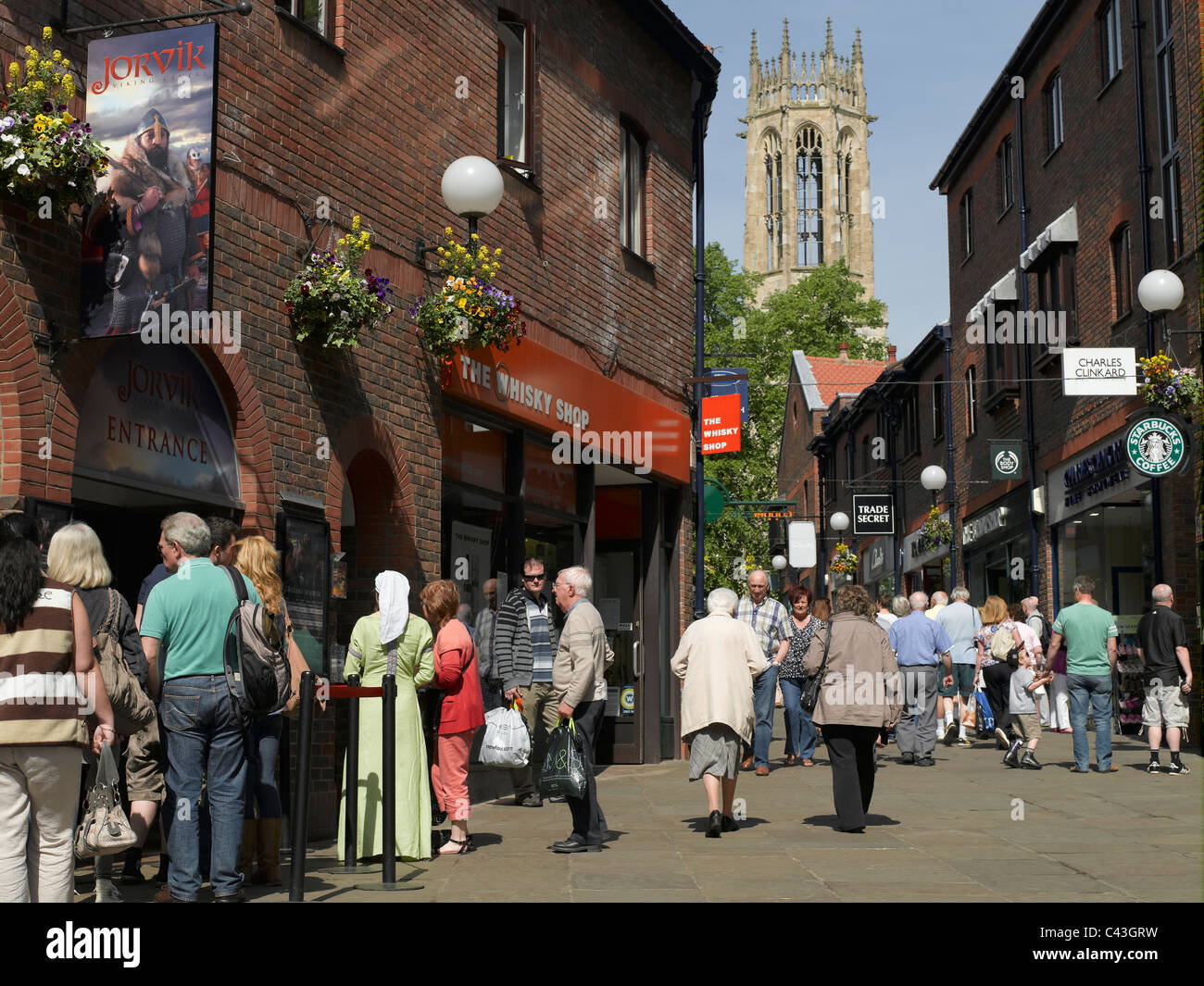 Jorvik Viking Centre Coppergate and All Saints Church in the background York North Yorkshire England UK United Kingdom Stock Photo