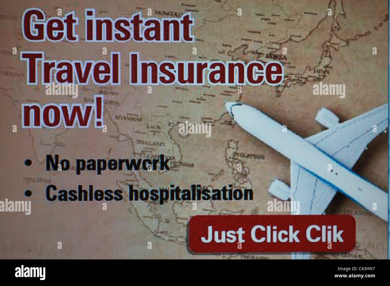 advertisement travel insurance commerce trade business aerospace industry - Stock Image