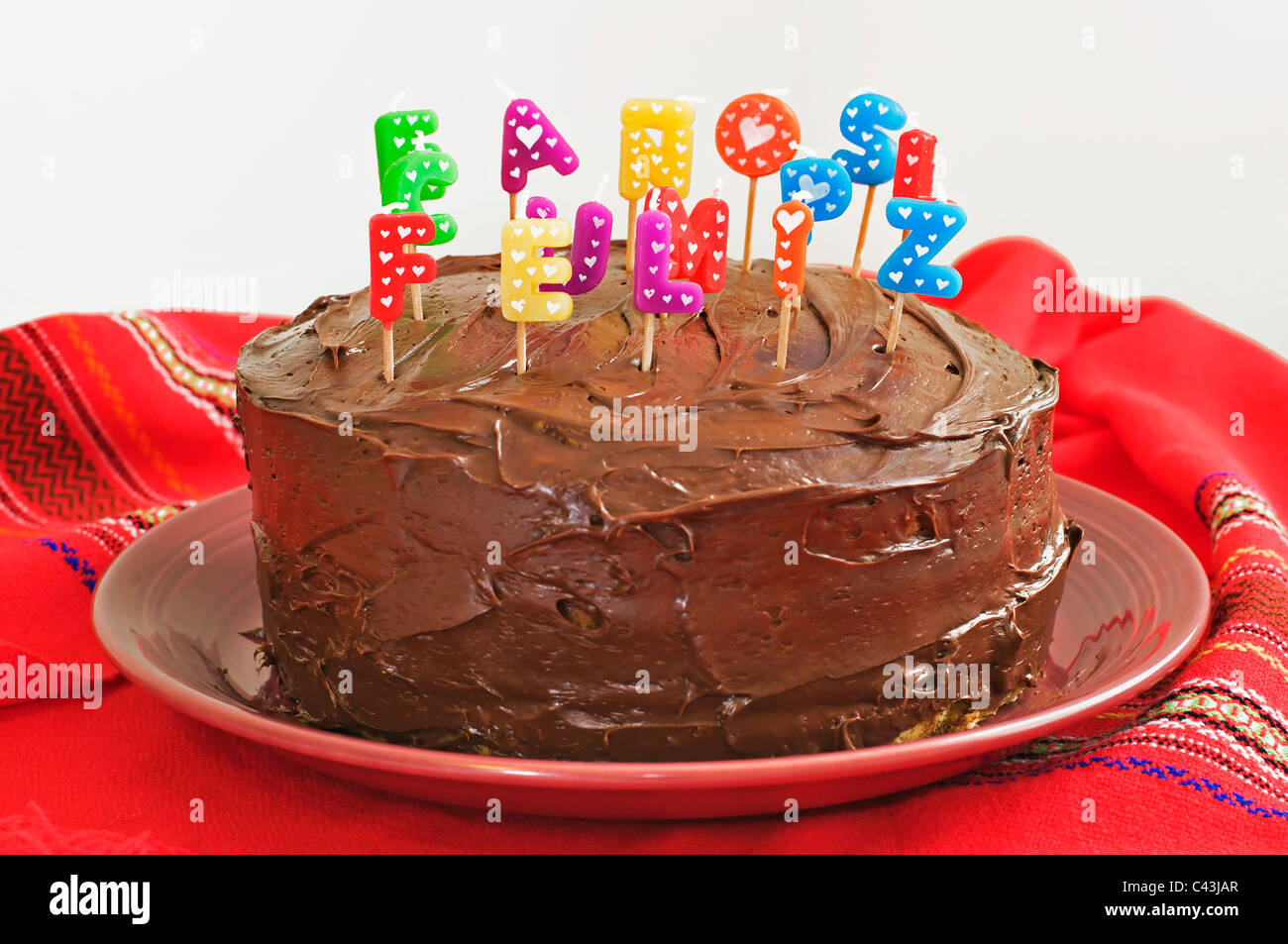 Stupendous Layered Birthday Cake With Chocolate Frosting And Decorated With Funny Birthday Cards Online Inifodamsfinfo
