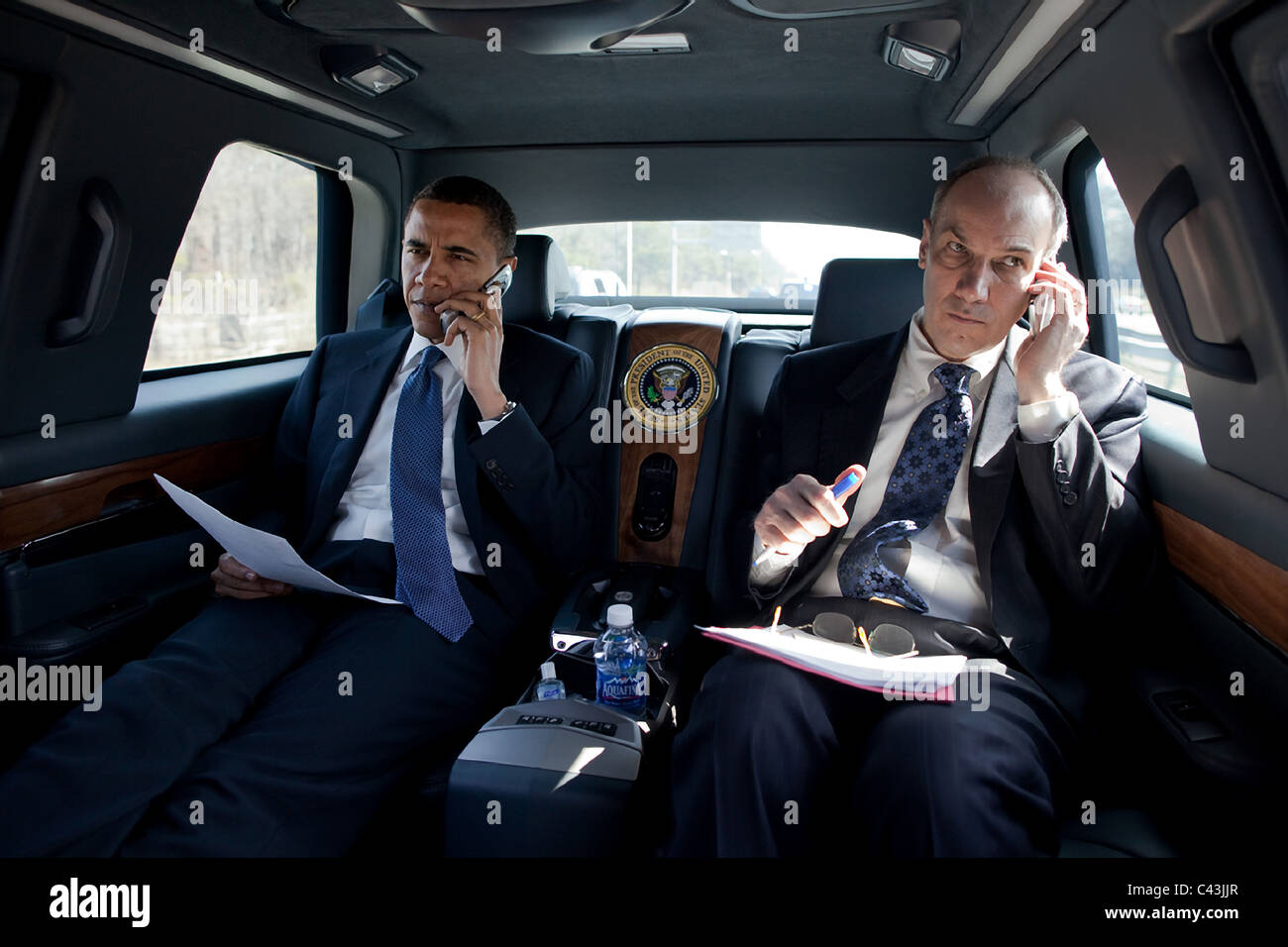 president barack obama talks on the phone from inside the stock photo 36959855 alamy. Black Bedroom Furniture Sets. Home Design Ideas