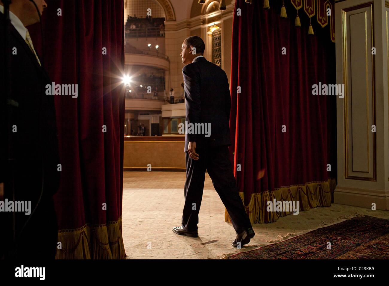 President Barack Obama speaks at Cairo University in Cairo - Stock Image