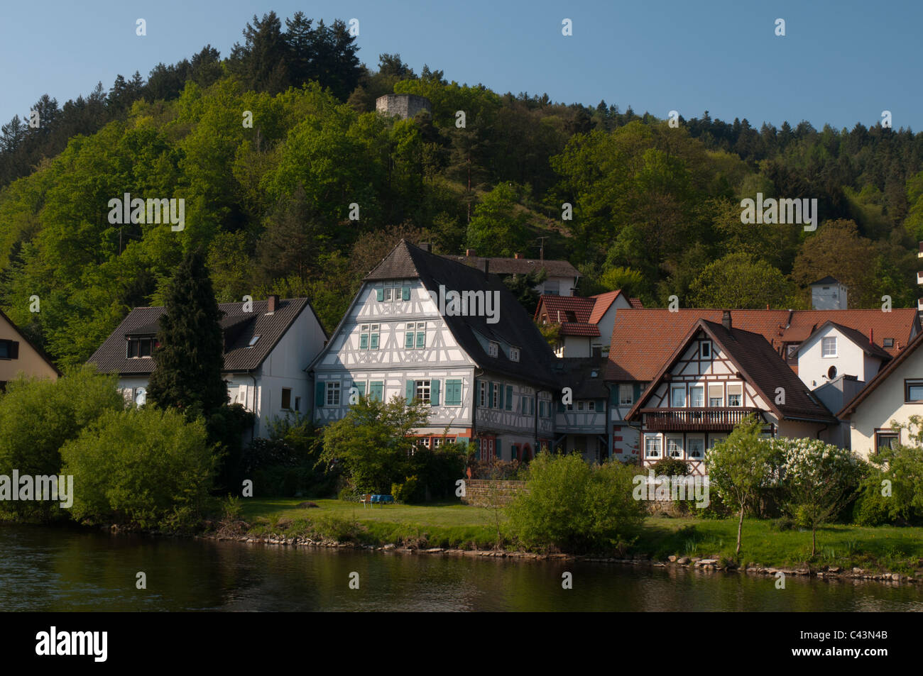 Murgvalley near Gernsbach with old magistrate, Black Forest, Baden-Württemberg, Germany, Europe - Stock Image