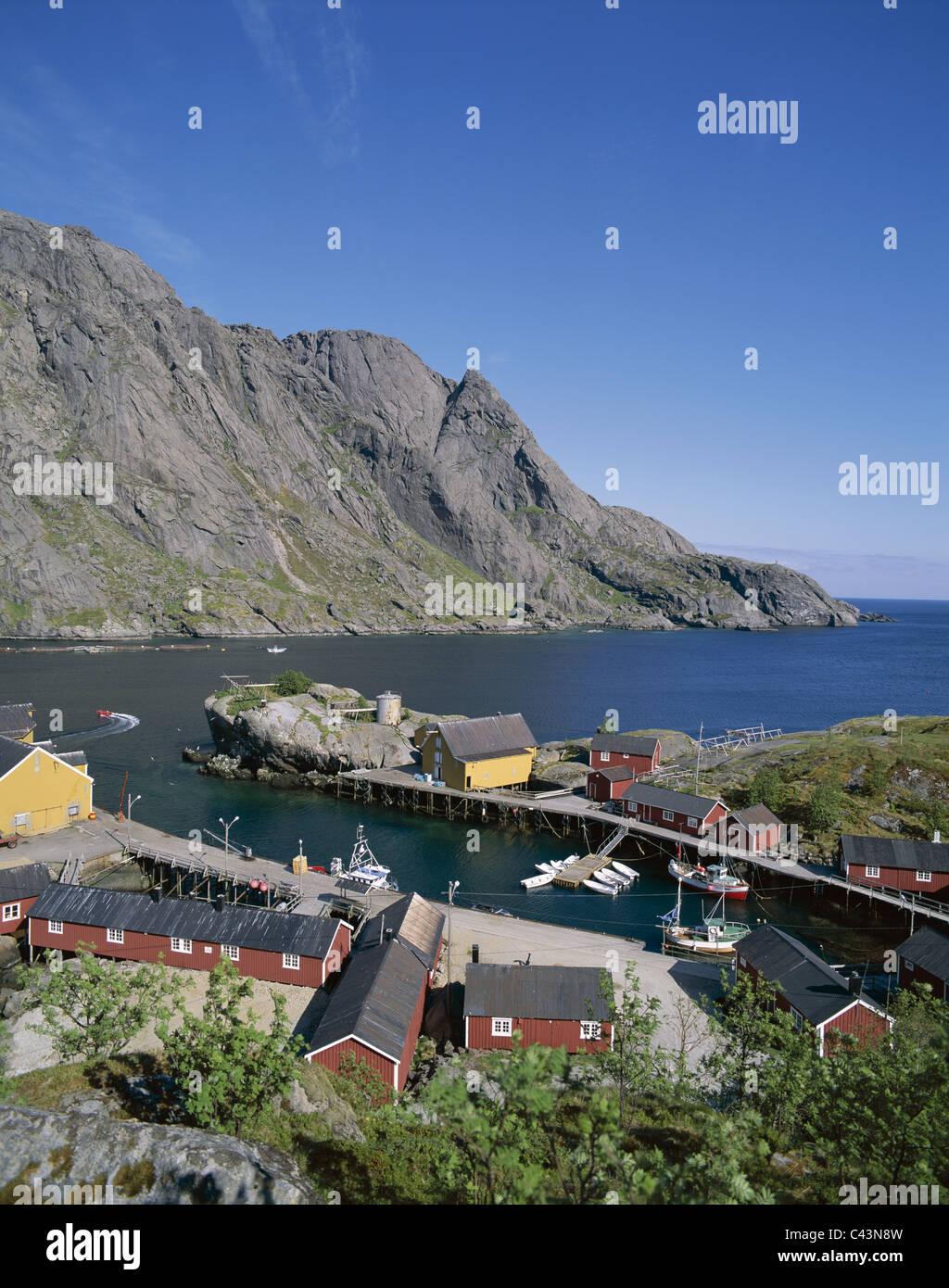 Cabins, Fisherman´s, Holiday, Islands, Landmark, Lofoten, Norway, Europe, Nusfjord, Rorbus, Tourism, Town, Travel, Stock Photo
