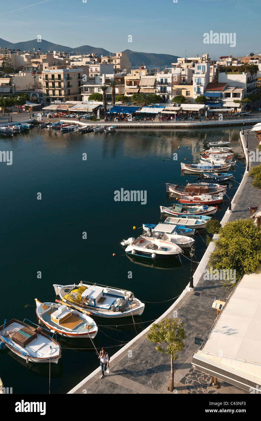 Looking down on the inner lake at Agios Nikolaos in Eastern Crete, Greece - Stock Image