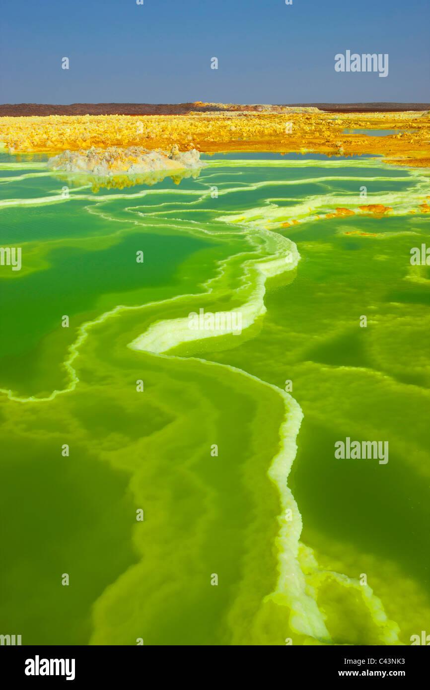 Dallol, Africa, Ethiopia, Afar region, Afgar, Danakil, desert, volcano lake, acid volcano, depositions, minerals, - Stock Image