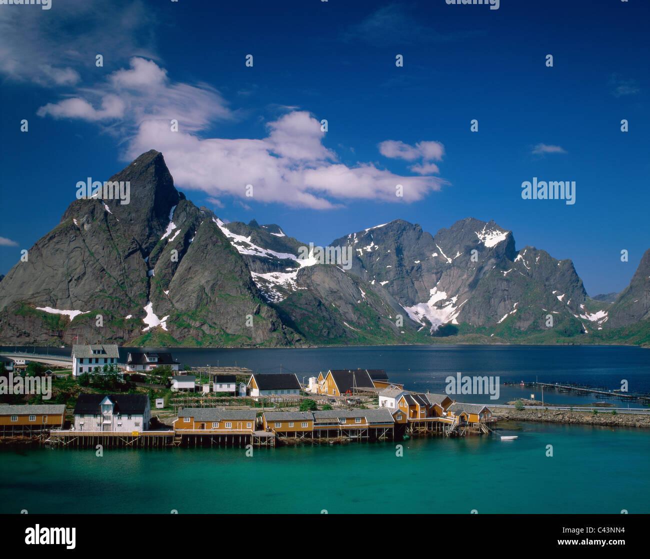 Cabins, Fisherman´s, Holiday, Islands, Landmark, Lofoten, Norway, Europe, Rorbus, Sakrisoy, Tourism, Town, Travel, Stock Photo