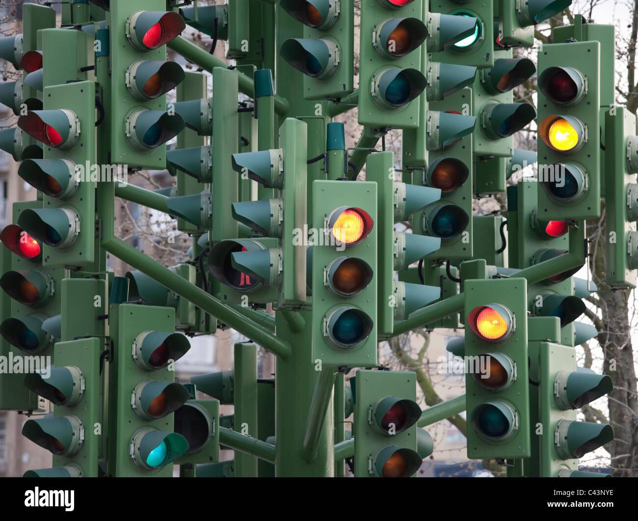 Traffic light tree sculpture; London; England - Stock Image