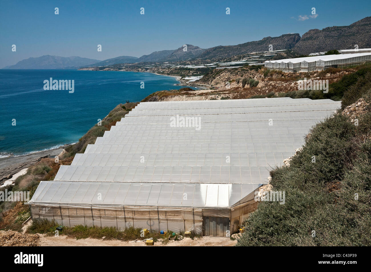 Plasticulture, plastic green houses, spreading along the coast between Mirtos and Sidonia in south eastern Crete, - Stock Image