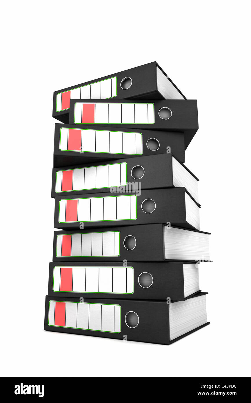 Stack of ring binders - Stock Image