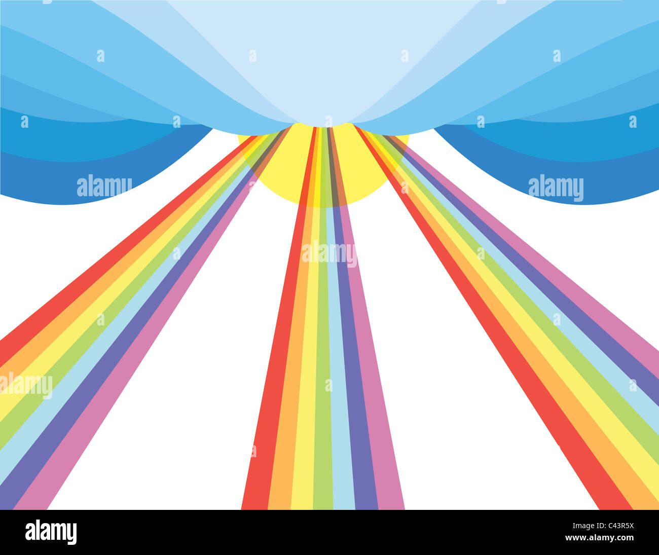 sun rays in rainbow spectrum flowing from sky stock photo: 36963414