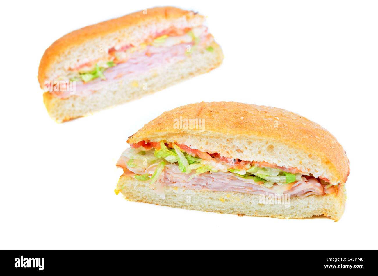 Deli Turkey Sandwich isolated on white - Stock Image