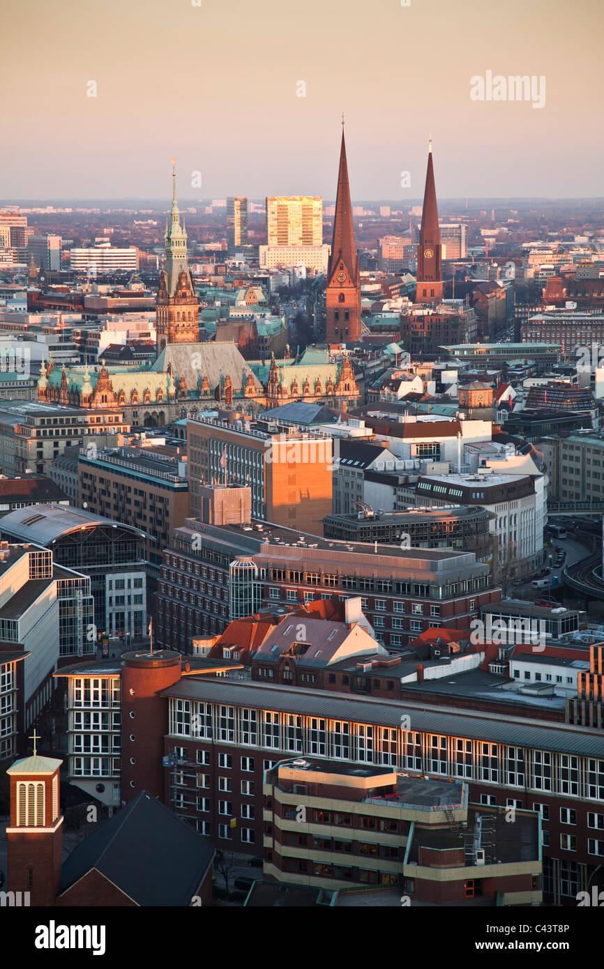 View, look, glance, Germany, Elbe, harbour, port, port, Hamburg, Hanseatic town, church, Saint Michaelis, city center, - Stock Image