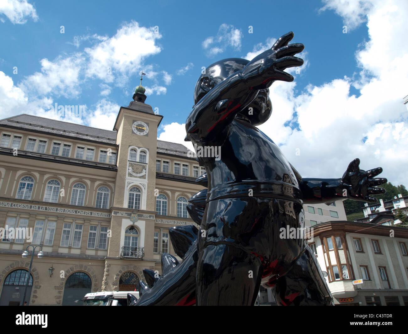 Engadin, pedestrian precinct, mall, Graubunden, Grisons, Hanselmann, art, skill, luxury, Switzerland, Europe, sculpture, - Stock Image