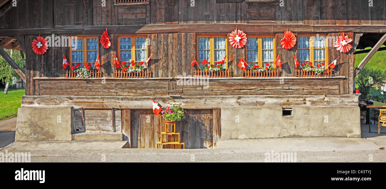 Travel, Nature, Geography, Europe, Switzerland, Canton Bern, Emmental, Farmhouse, Architecture, Swiss Culture, Tranquil, - Stock Image