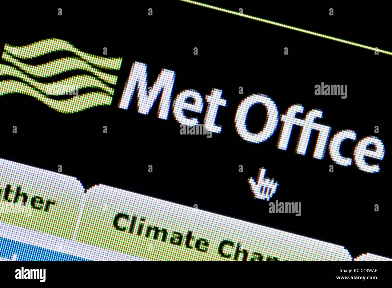Close up of the Met Office logo as seen on its website. (Editorial use only: print, TV, e-book and editorial - Stock Image