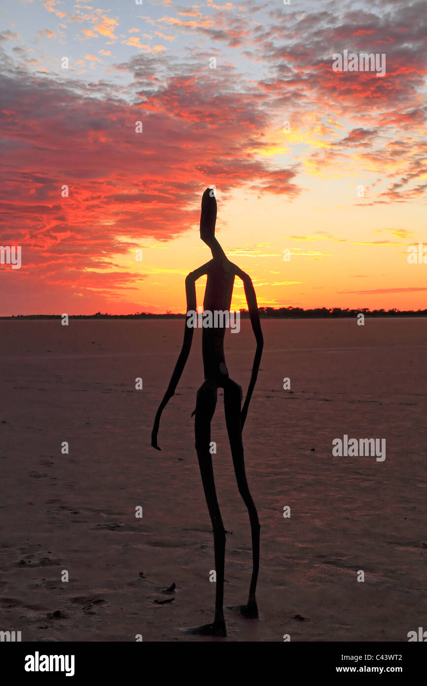 Sculpture by Antony Gormley, Inside Australia exhibition, on Lake Ballard at sunrise, Western Australia - Stock Image