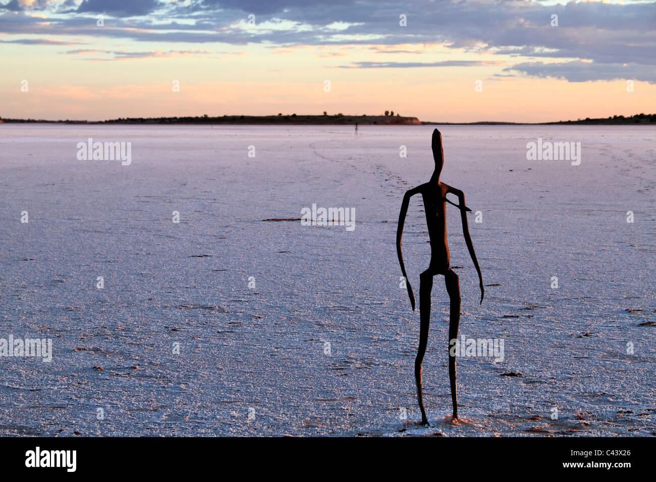 Sculpture by Antony Gormley, Inside Australia exhibition, on Lake Ballard, Western Australia - Stock Image