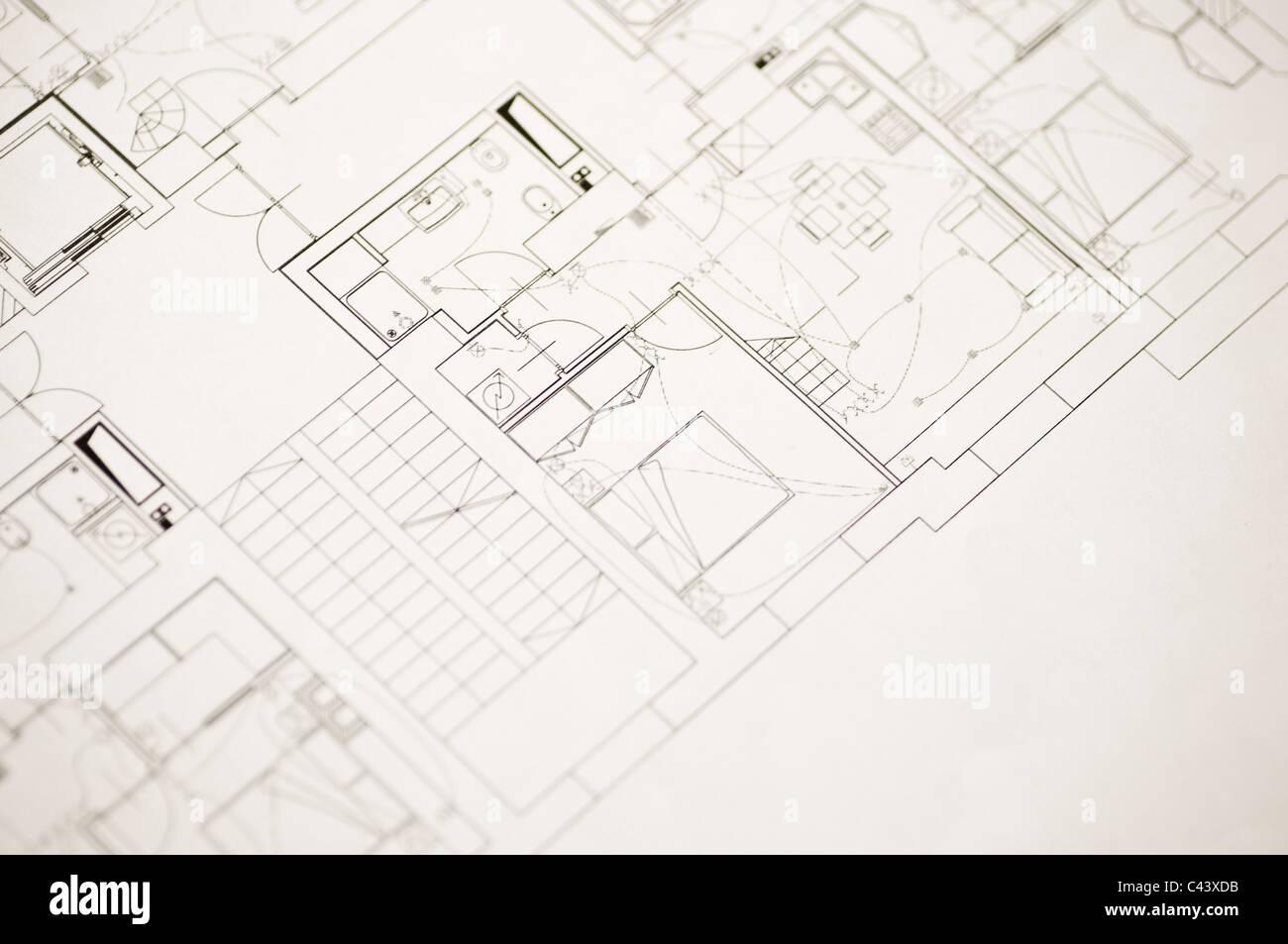 A part of a blueprint. - Stock Image