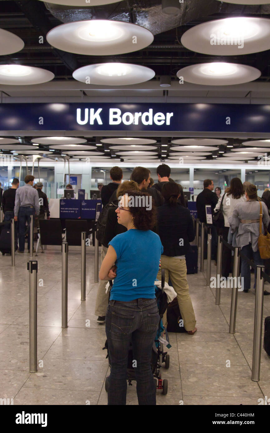 Immigration - Terminal 5 - Heathrow  Airport - London - Stock Image
