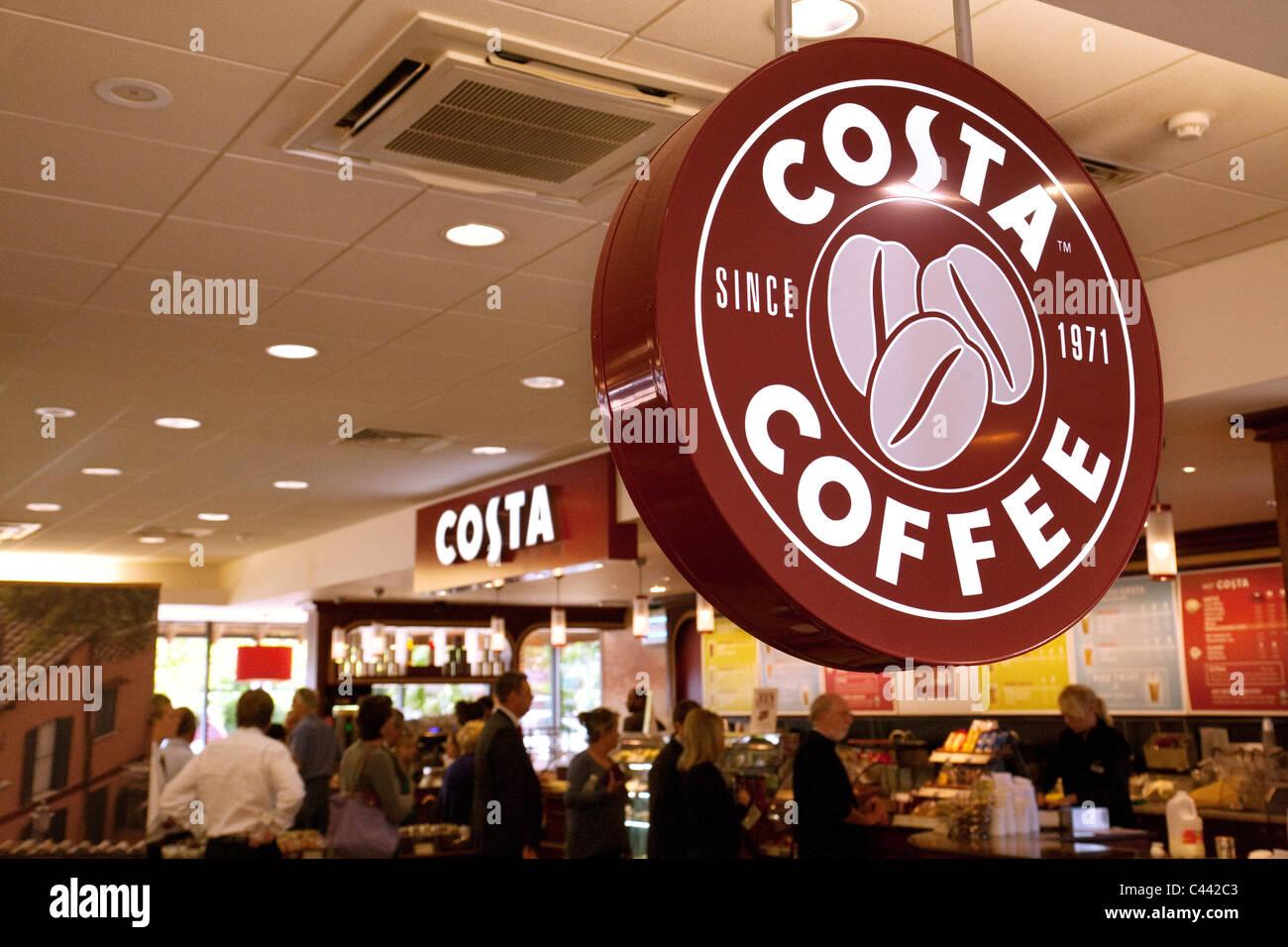 Costa Coffee cafe at Clacket Lane  motorway services M25, Surrey , UK - Stock Image