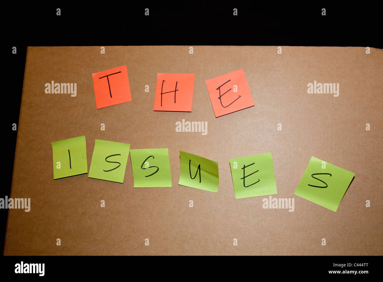 THE ISSUES written on sticky notes - Stock Image