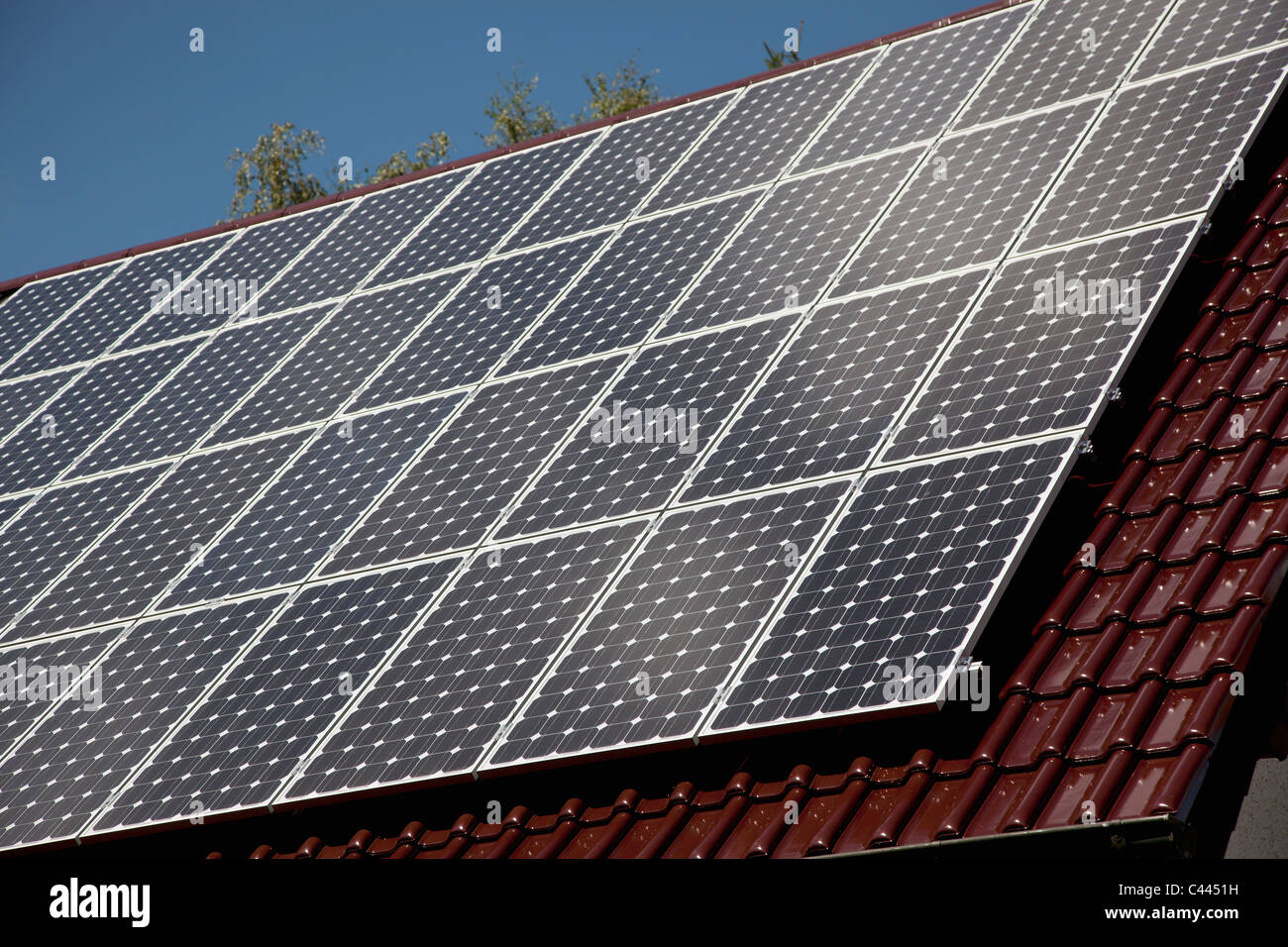 Detail of solar panels on a roof - Stock Image