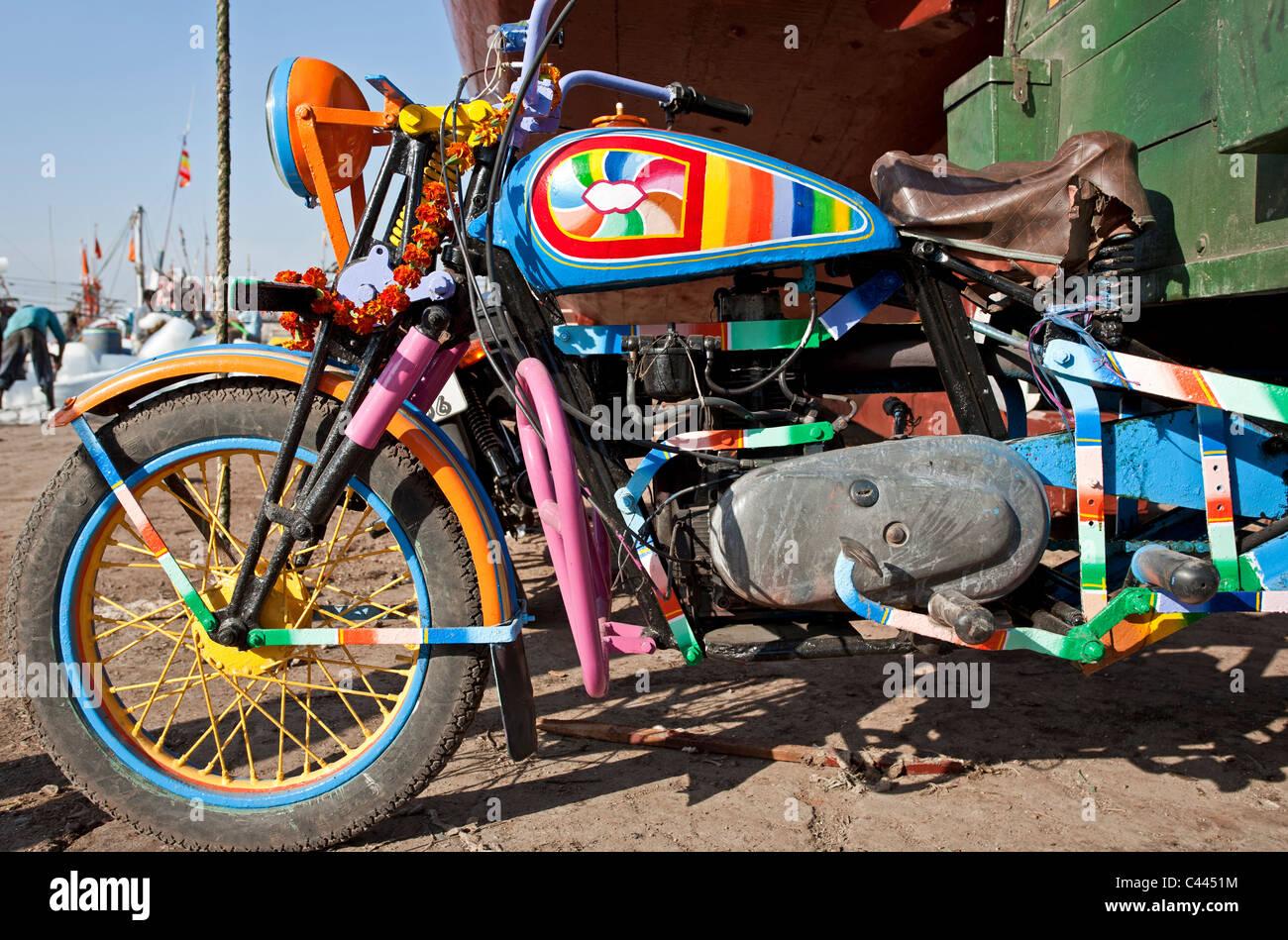 Old diesel Enfield motorbike. Diu Island. Gujarat. India - Stock Image