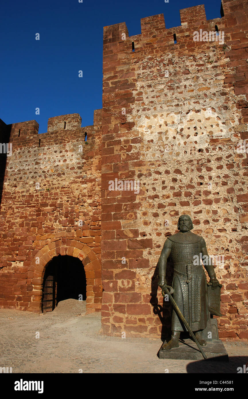 Sancho I (1154-1212). King of Portugal. Statue of King next to the castle entrance. Silves. Algarve. Portugal. - Stock Image