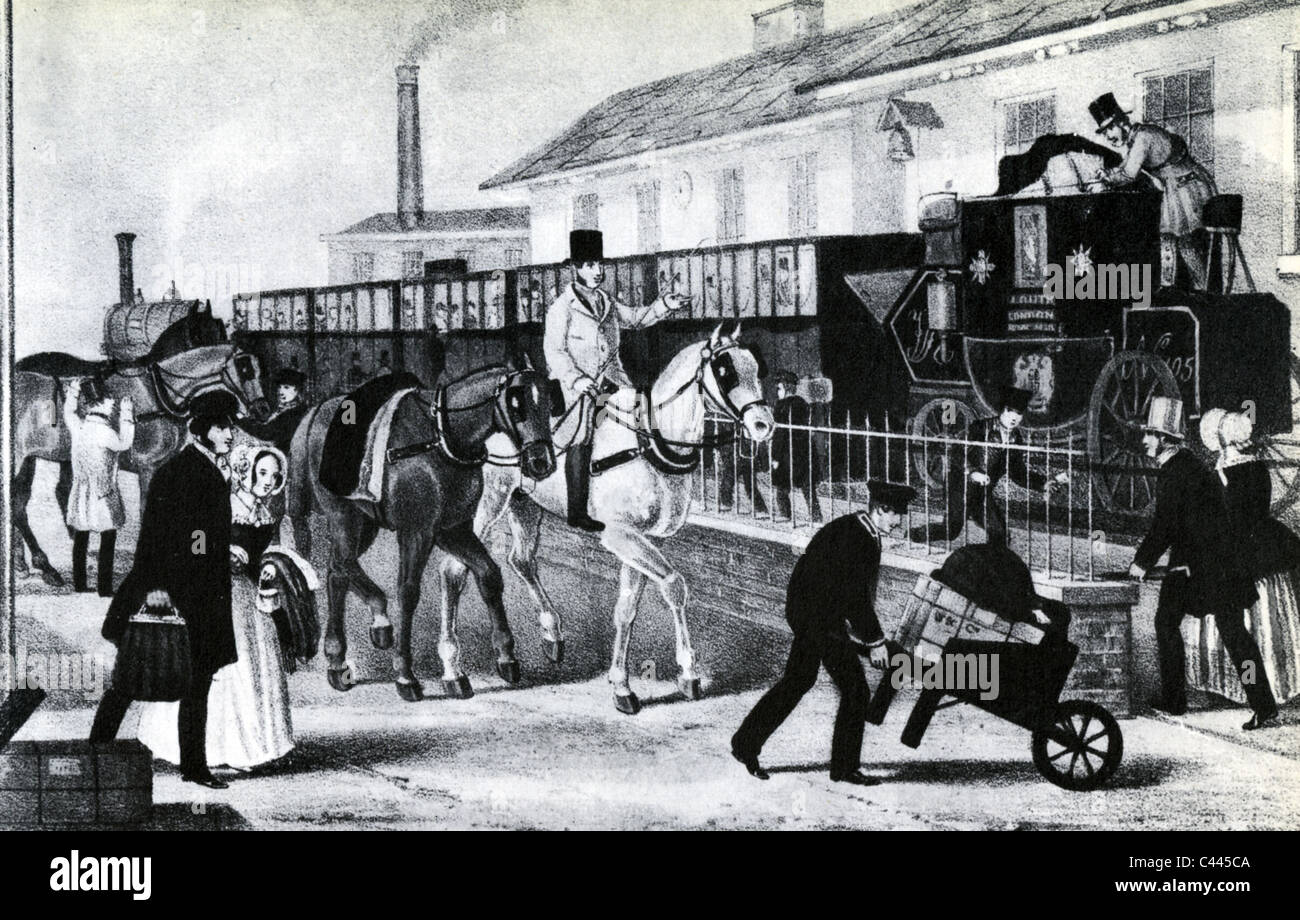 RAILWAY DEVELOPMENT In 1845 the mailcoach from Louth  to London was transported 48 miles by rail from Peterborough - Stock Image