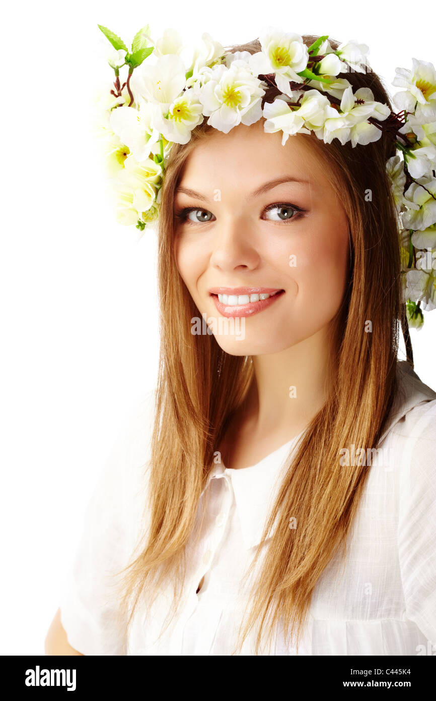 Image of happy female wearing floral wreath on head - Stock Image