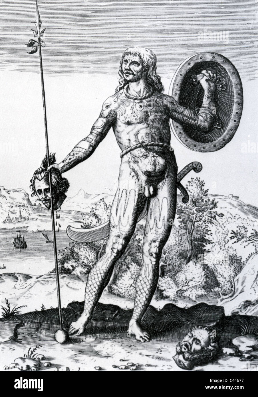 PICT  SCOTTISH WARRIOR as shown in a 16th century illustration - Stock Image