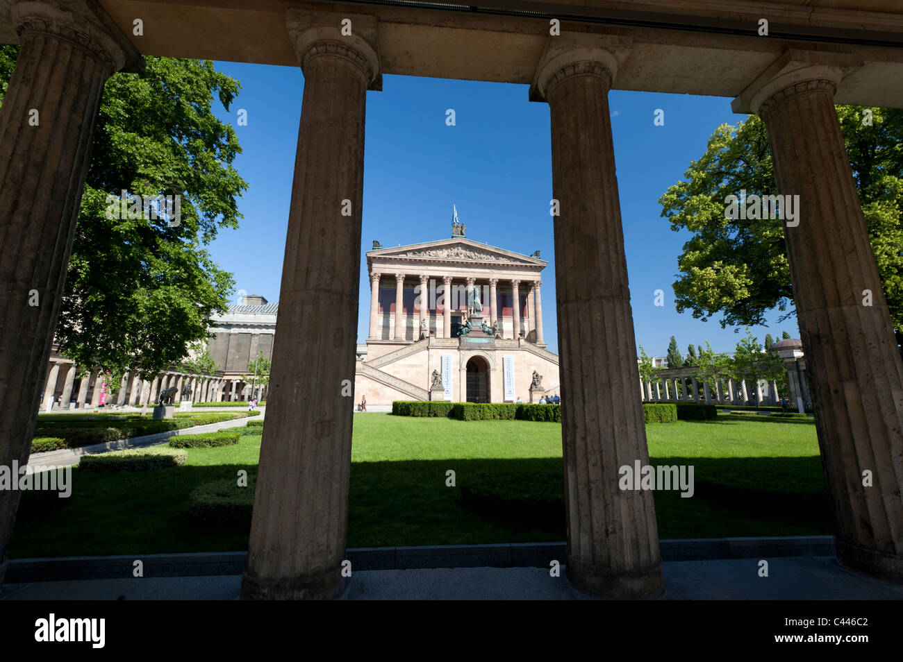 Exterior of Alte Nationalgalerie art museum on Museum Island or Museumsinsel in Mitte district of Berlin Germany - Stock Image