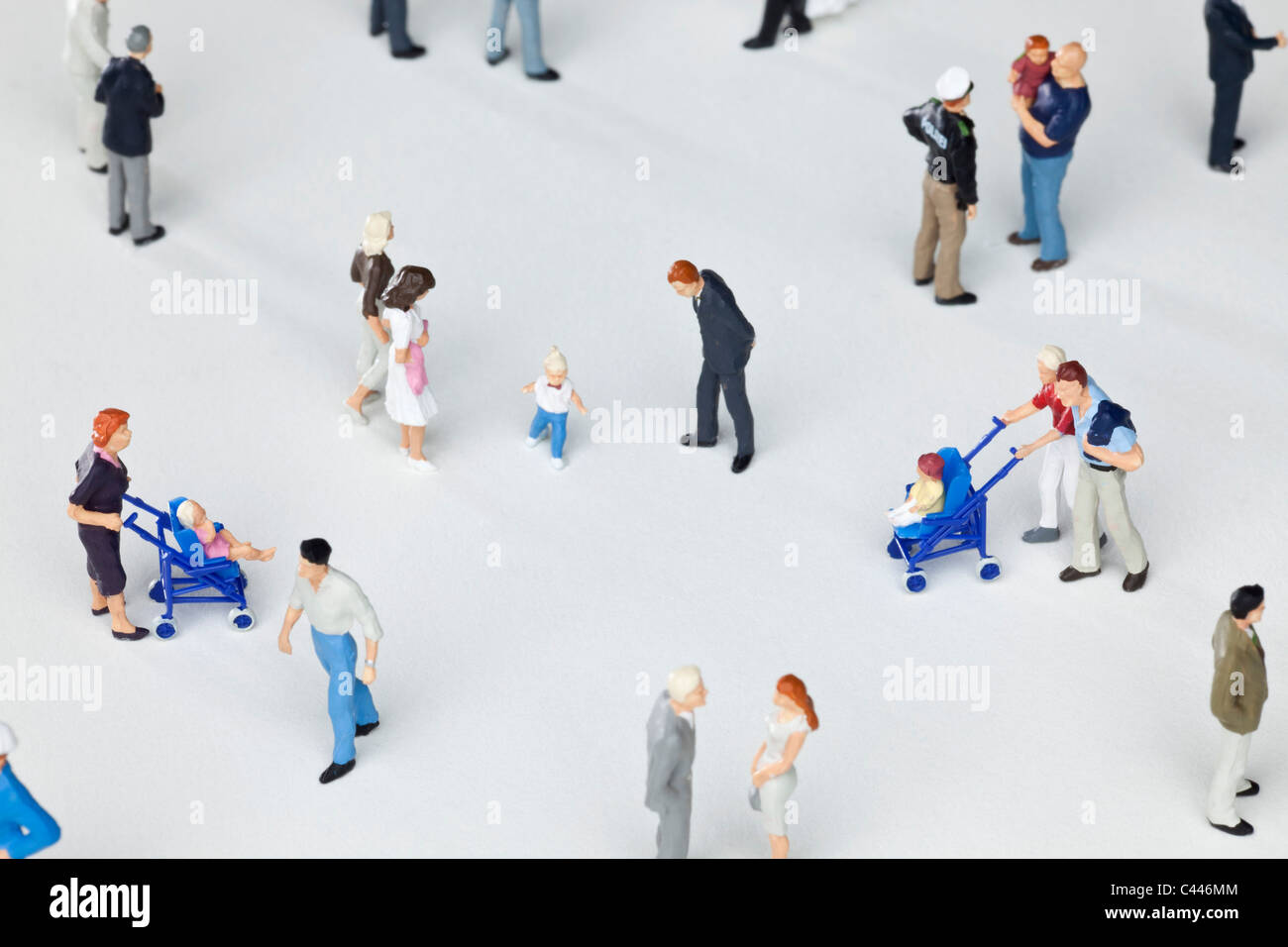 A group of miniature figurines - Stock Image