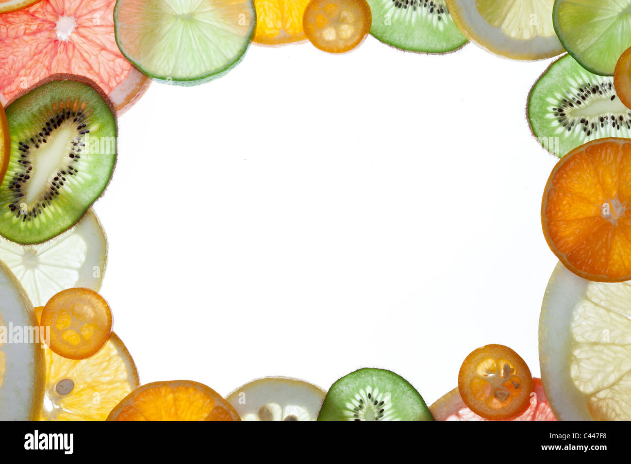 Back projected citrus slices frame. - Stock Image