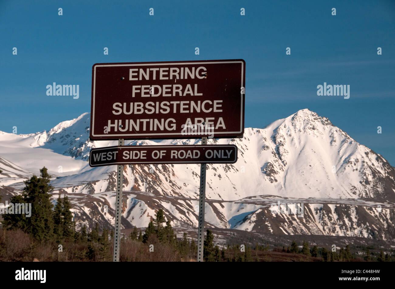 federal subsistence hunting area, sign, Denali Highway, Alaska, North America, board, USA, mountains, snow, hunting - Stock Image