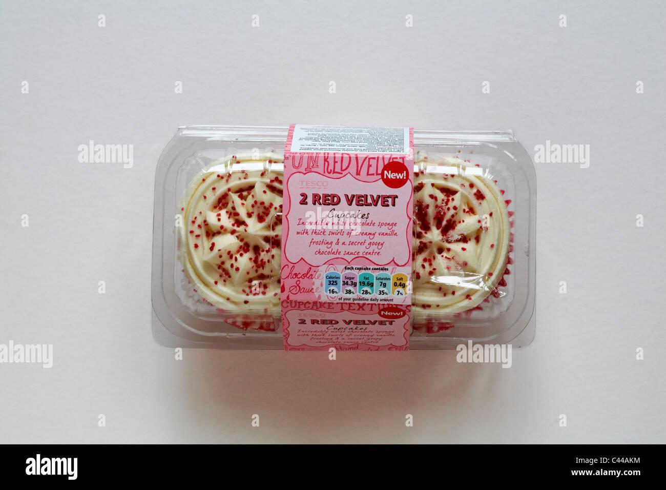 Red Velvet Cake Recipe Uk Tesco: Packet Of Tesco 2 Red Velvet Cupcakes Isolated On White