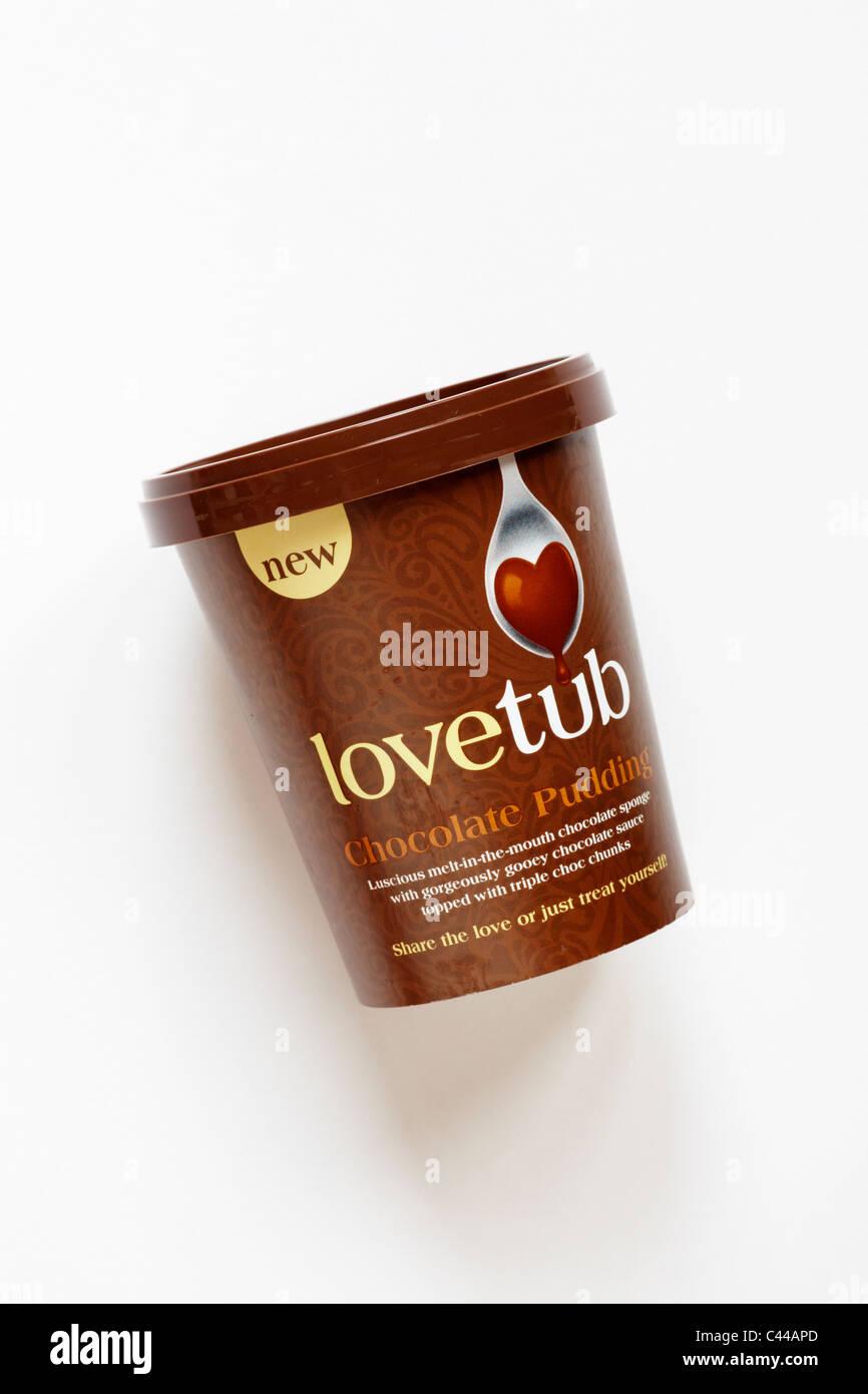 Tub of lovetub chocolate pudding isolated on white background - Stock Image