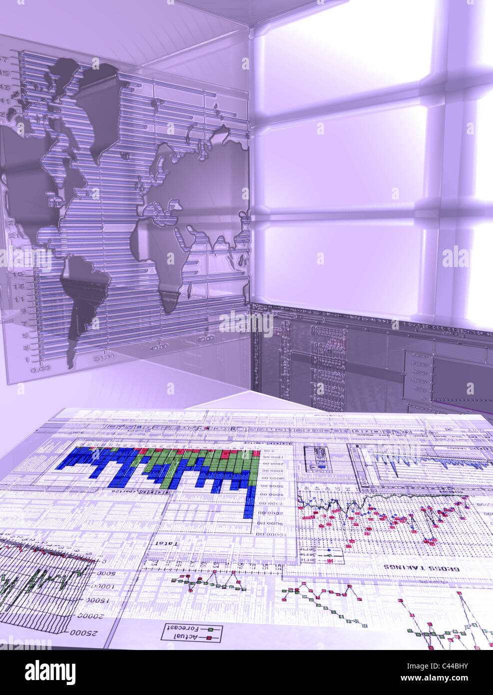COMPUTER GENERATED VIRTUAL OFFICE DESK CGI - Stock Image
