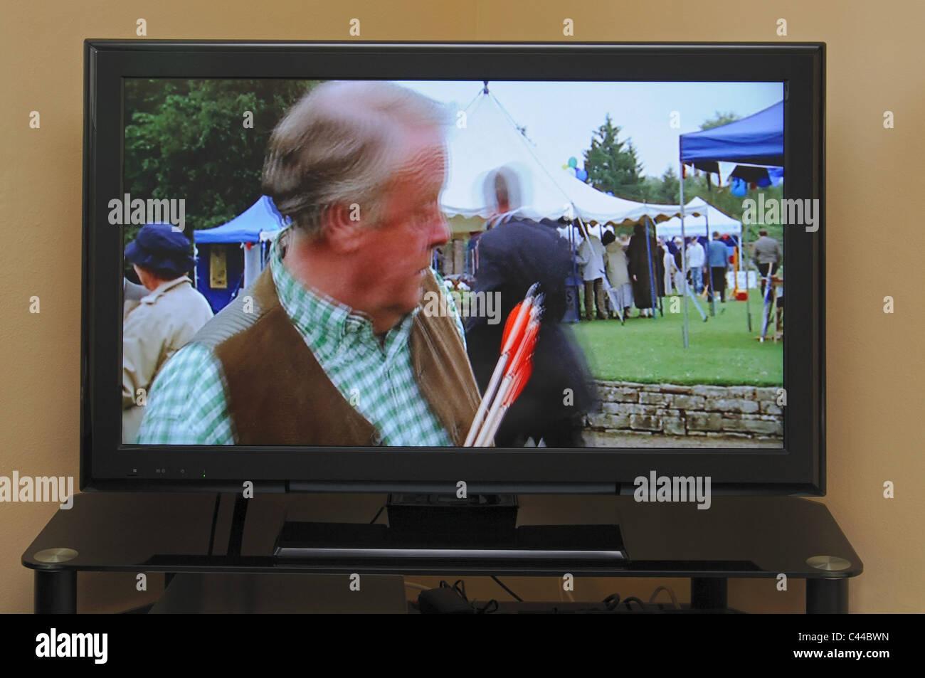 Modern LCD Television, Calypso, Costa del Sol, Malaga Province, Andalucia, Spain, Western Europe. - Stock Image