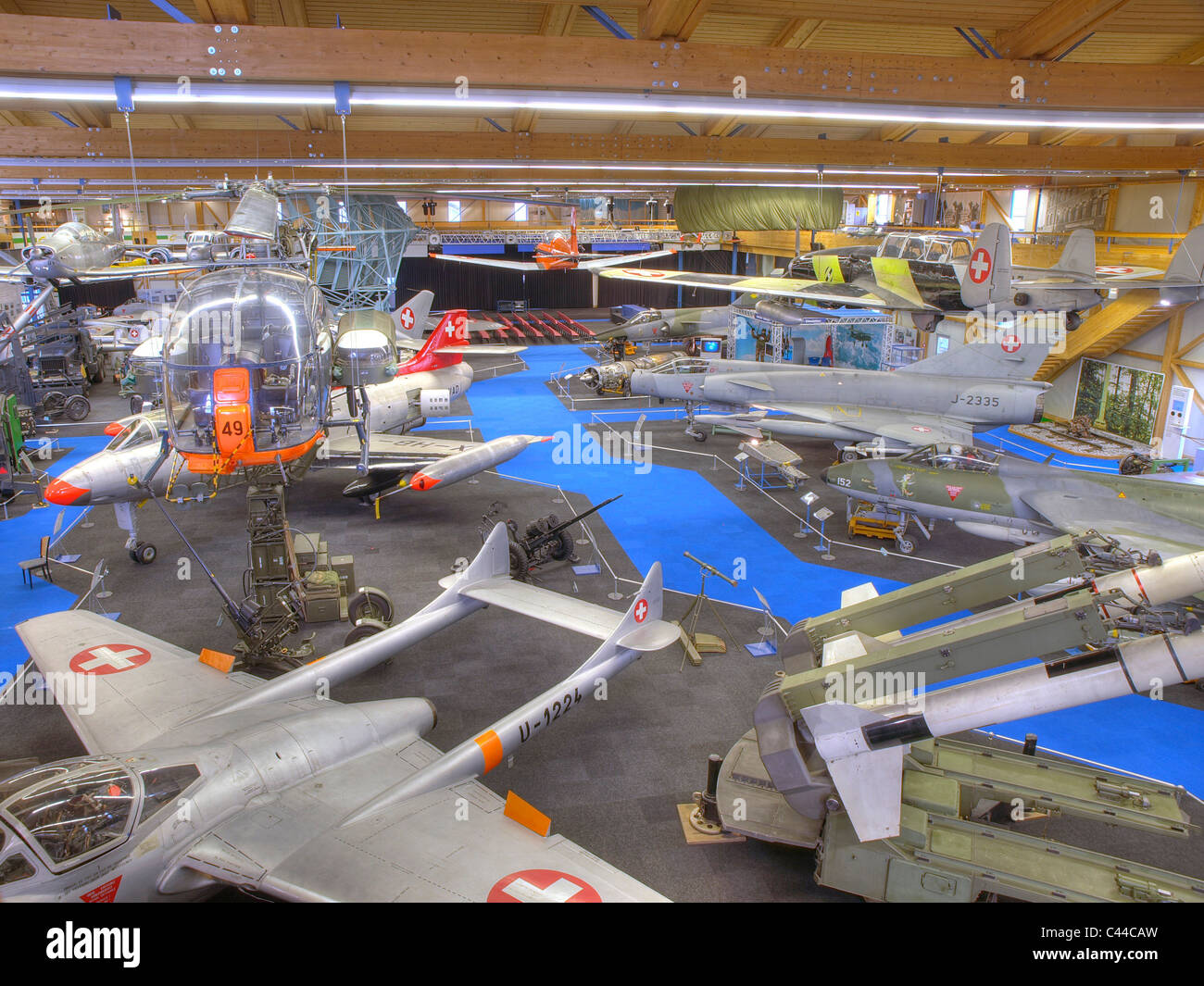 Airplanes, airman's museum, village Duben, museum, canton Zurich, Switzerland, military aircraft, old-timers, - Stock Image