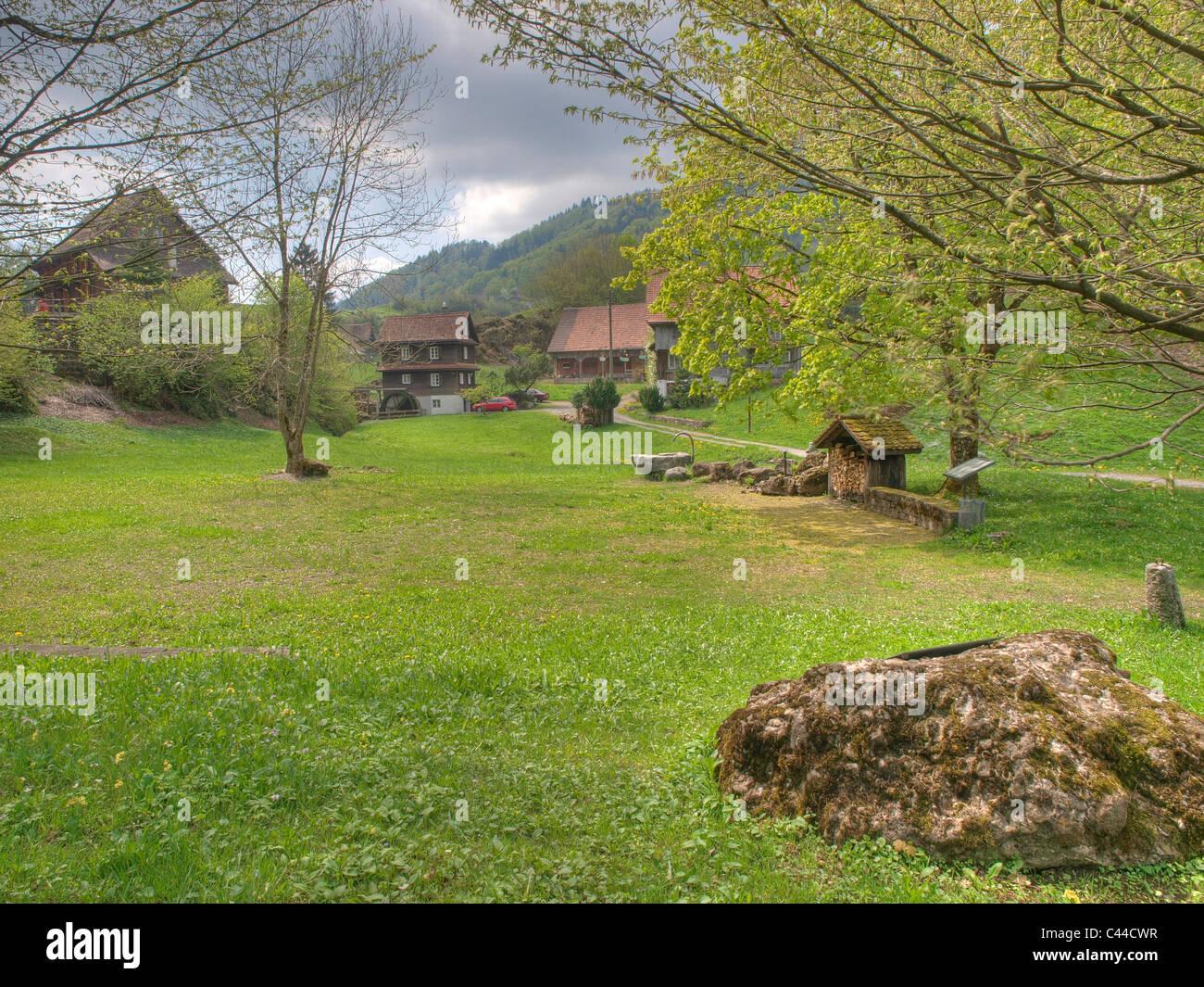 Morgarten, battle, fight, canton Schwyz, away, farm, Switzerland, monument - Stock Image