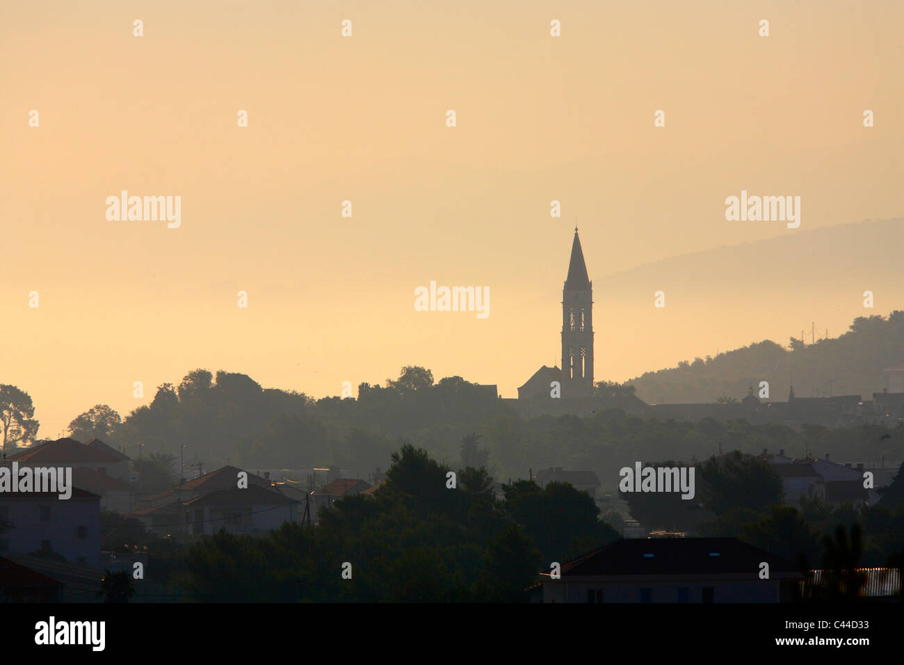 Silhouette of Cathedral  of st. Lawrence in Trogir town - Stock Image
