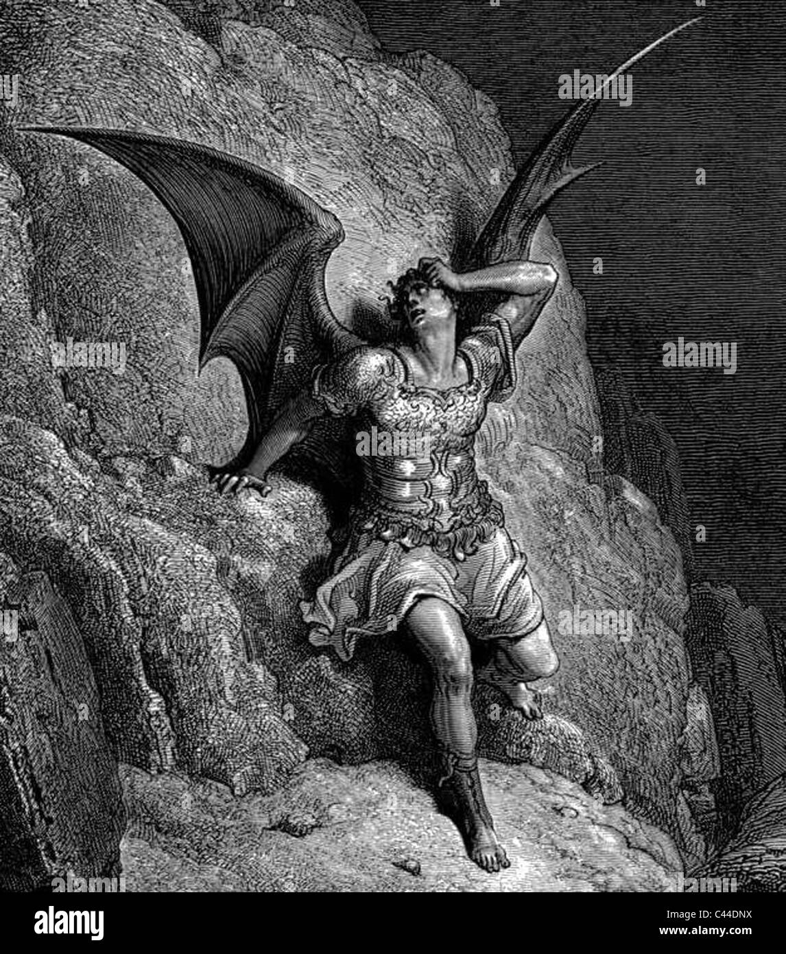 SATAN as drawn by Gustave Dore for the 1866 edition of  Milton's Paradise Lost - Stock Image