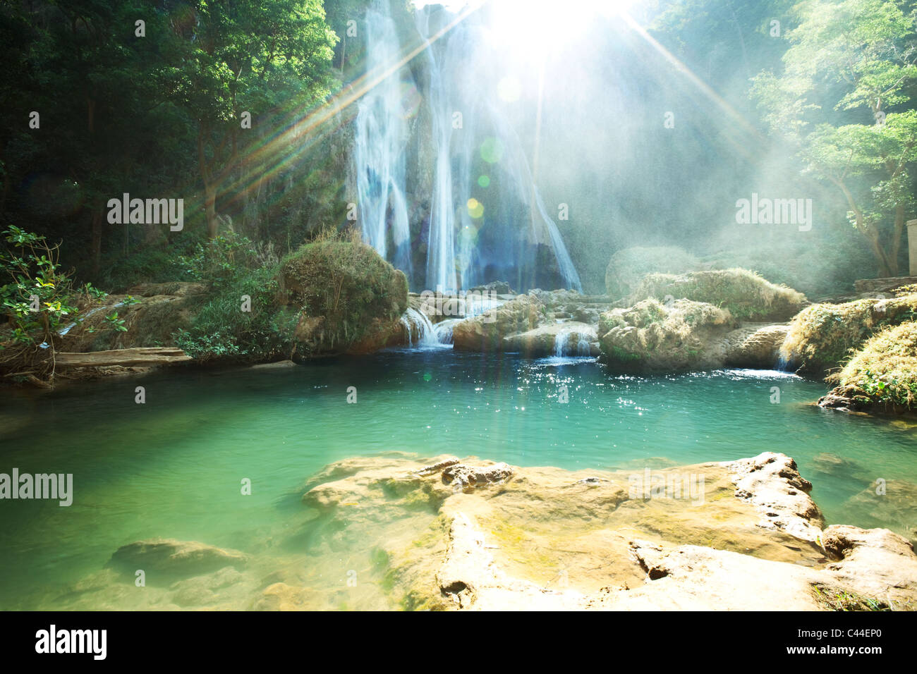 waterfall in Myanmar - Stock Image